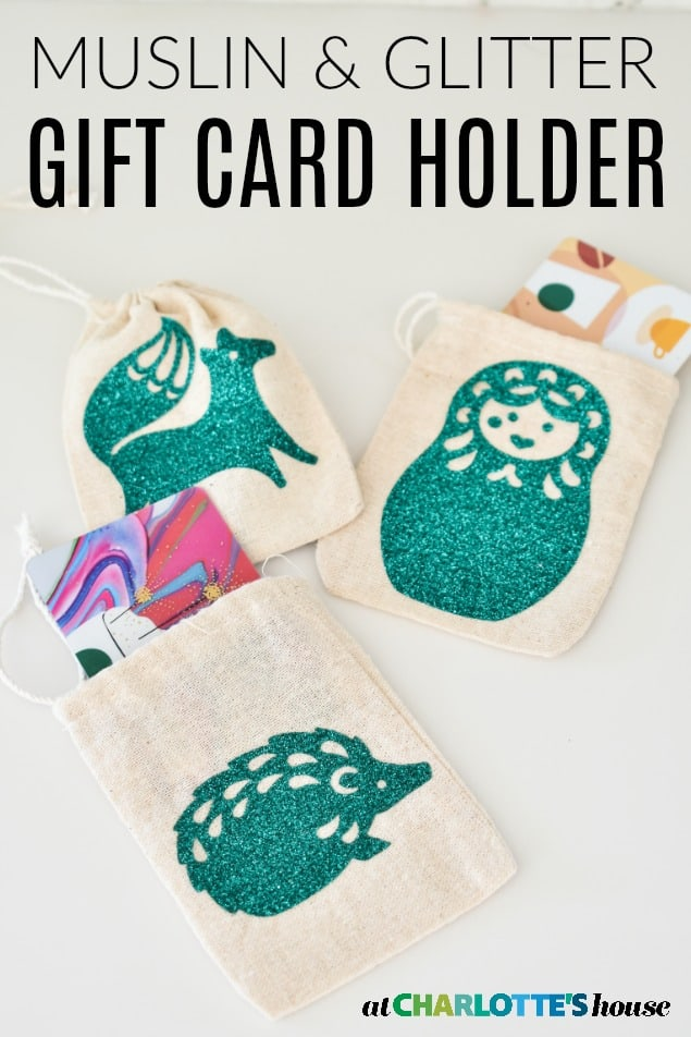 muslin glitter gift card holder