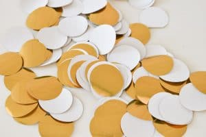 punch circles from gold paper