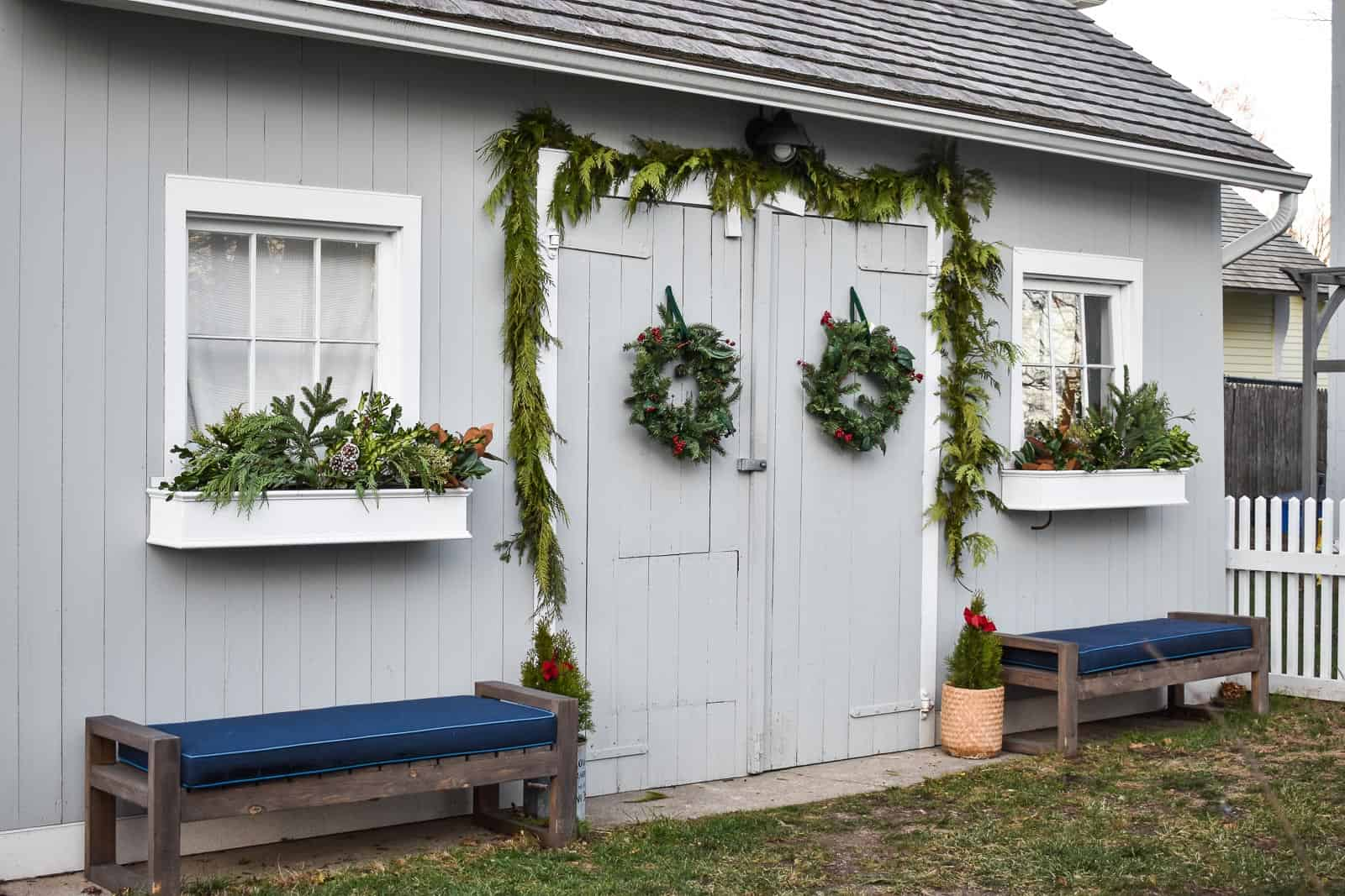 greenery on backyard shed for christmas