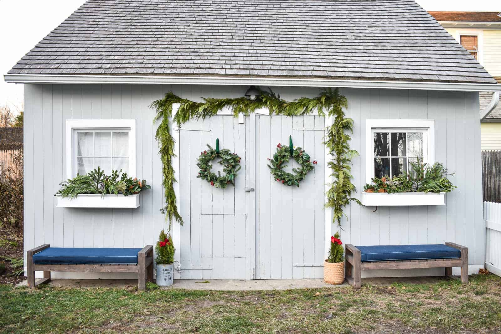 christmas decorations on backyard shed