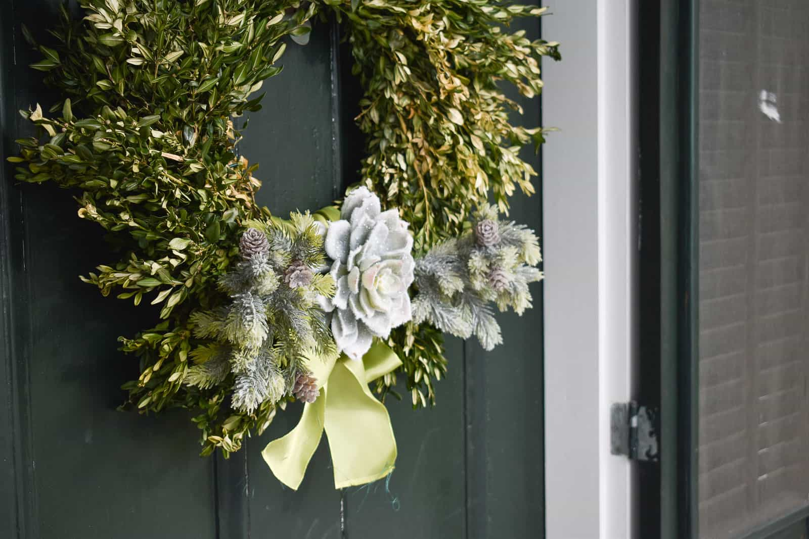 Boxwood wreath with simple embellishment