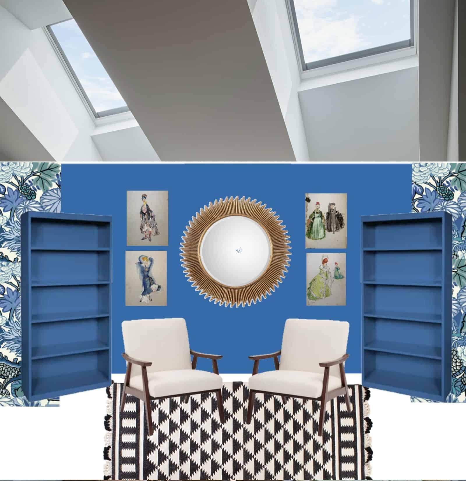 blue room with skylights overhead