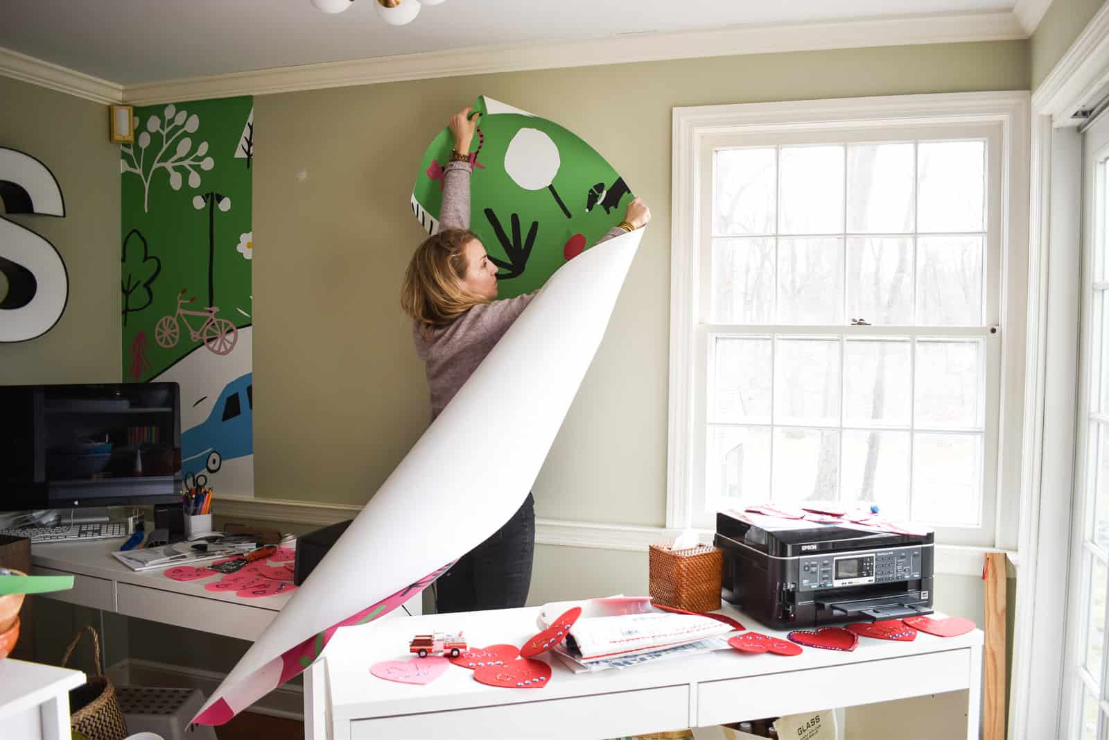 installing the Minted wall mural