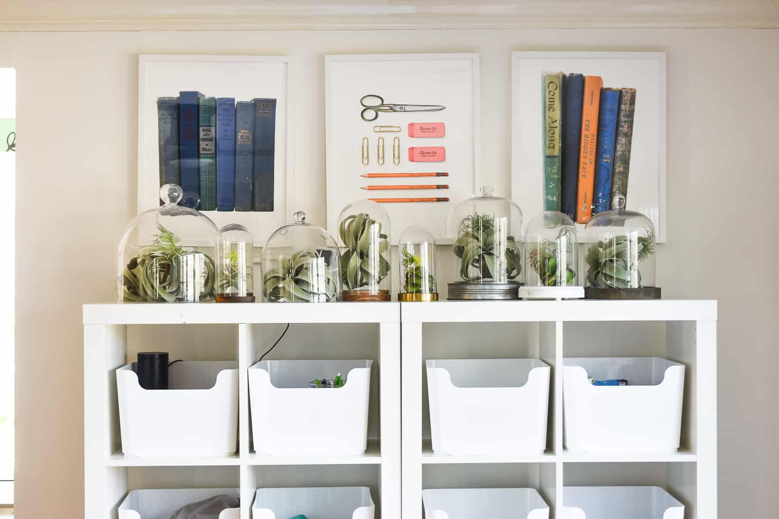 minted prints above the storage shelf