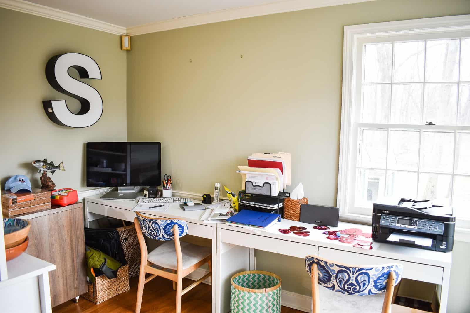 desks along wall of homework station