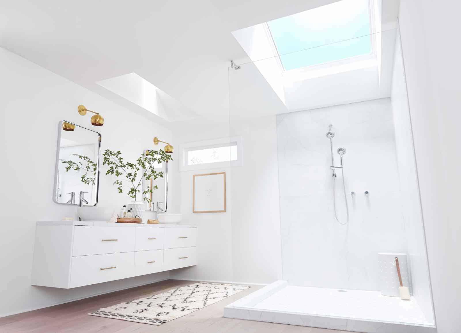 skylights in a bathroom