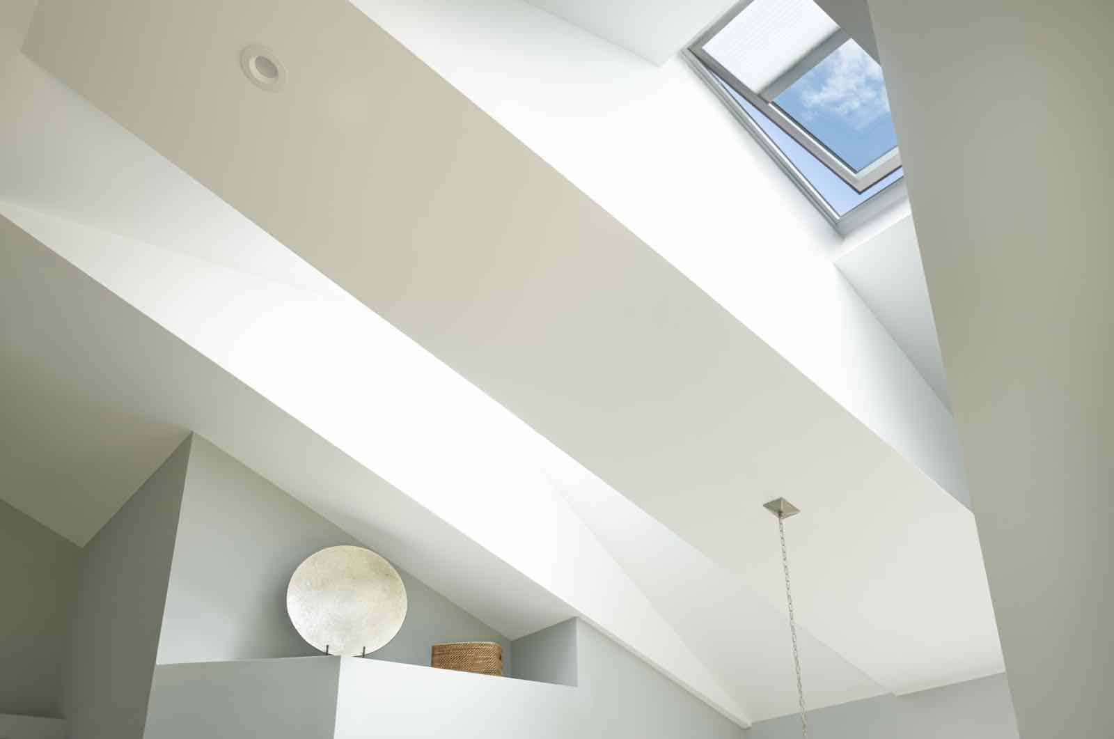 close up on white velux skylights