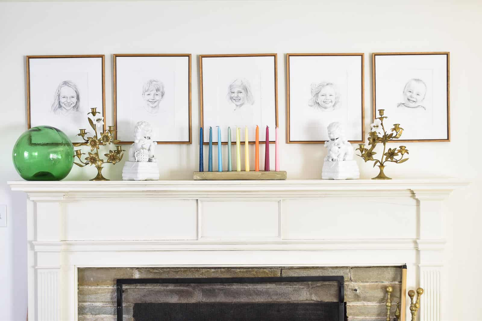 mantel with rainbow candle arrangement