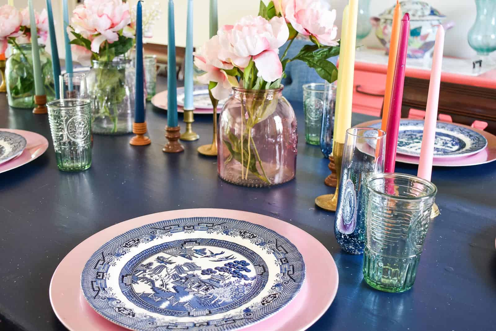 pink and blue dishes for spring table