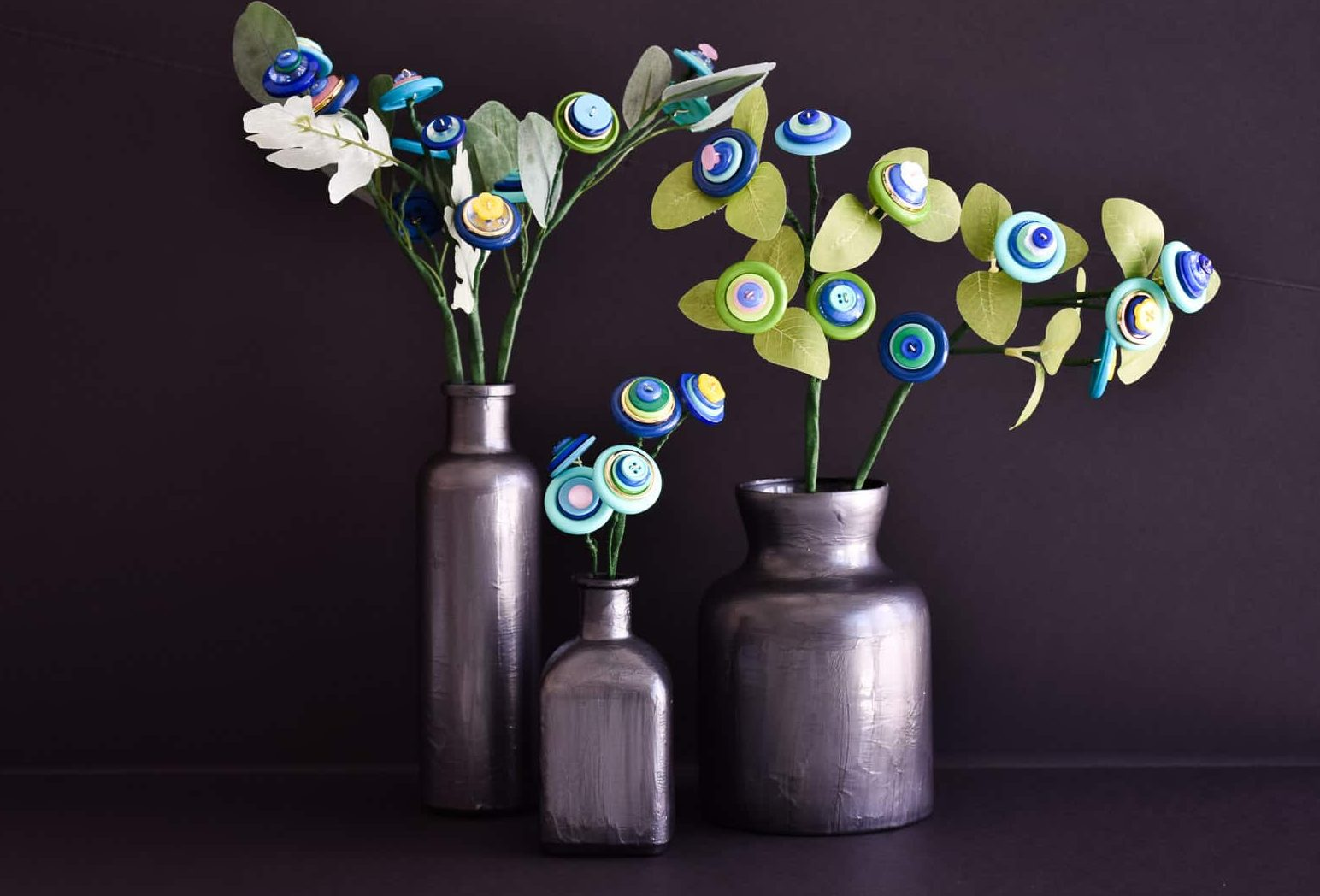 moody button flower arrangements