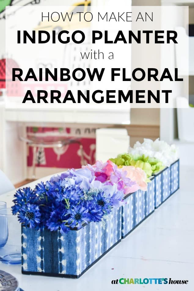 indigo centerpiece with rainbow florals