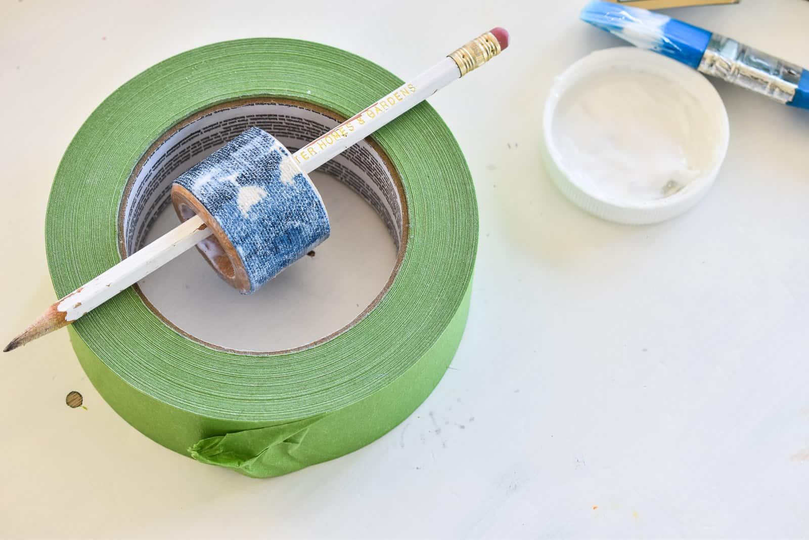 napkin ring drying in frog tape