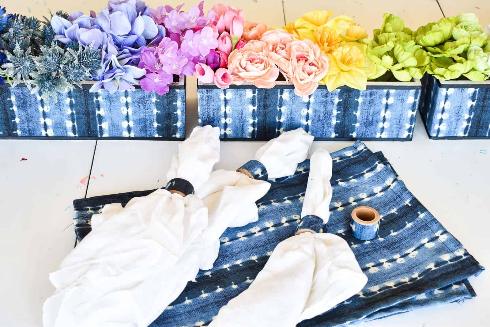 how to make indigo planter, placemats, napkin rings, and a rainbow floral arrangement