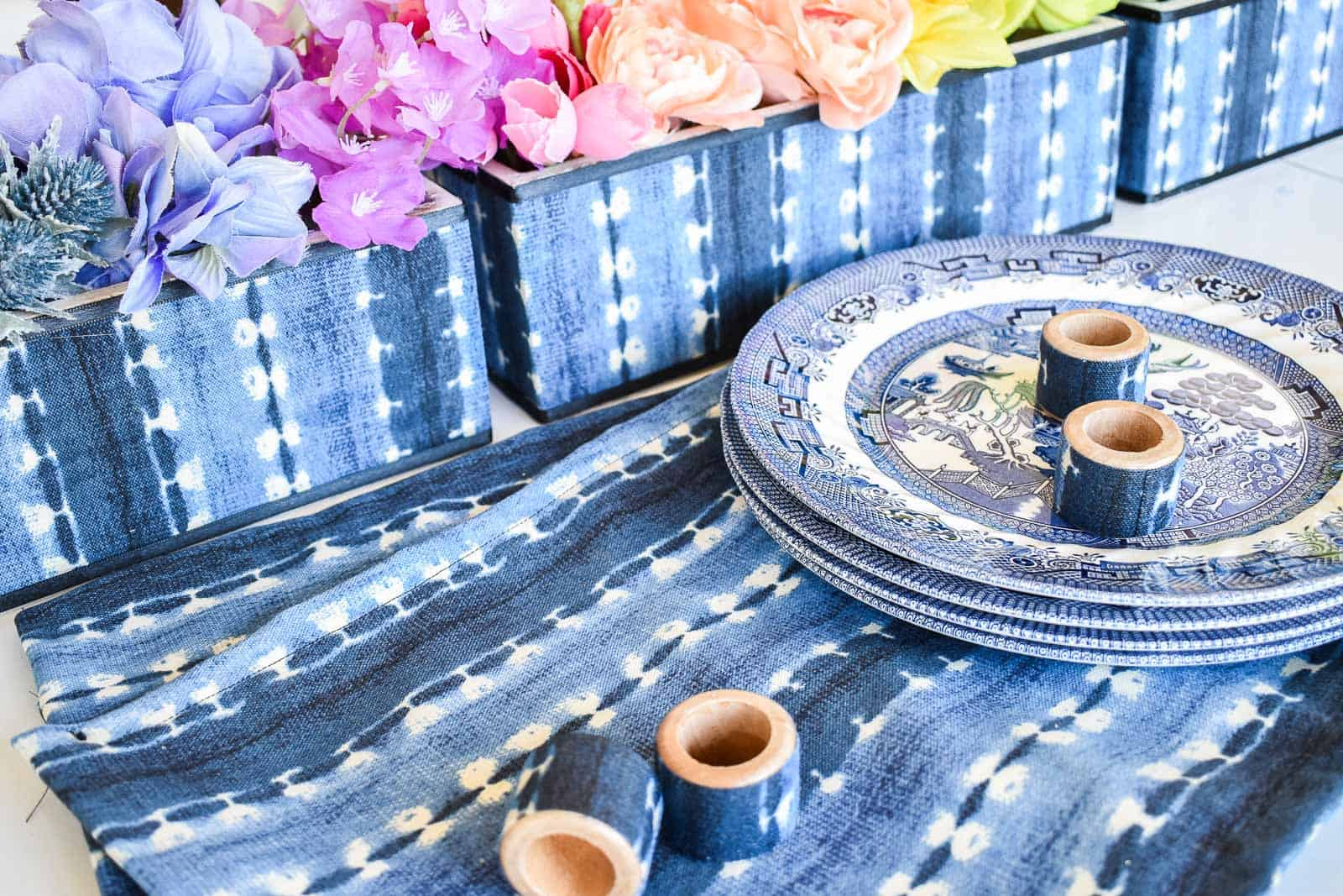 rainbow florals with indigo table setting