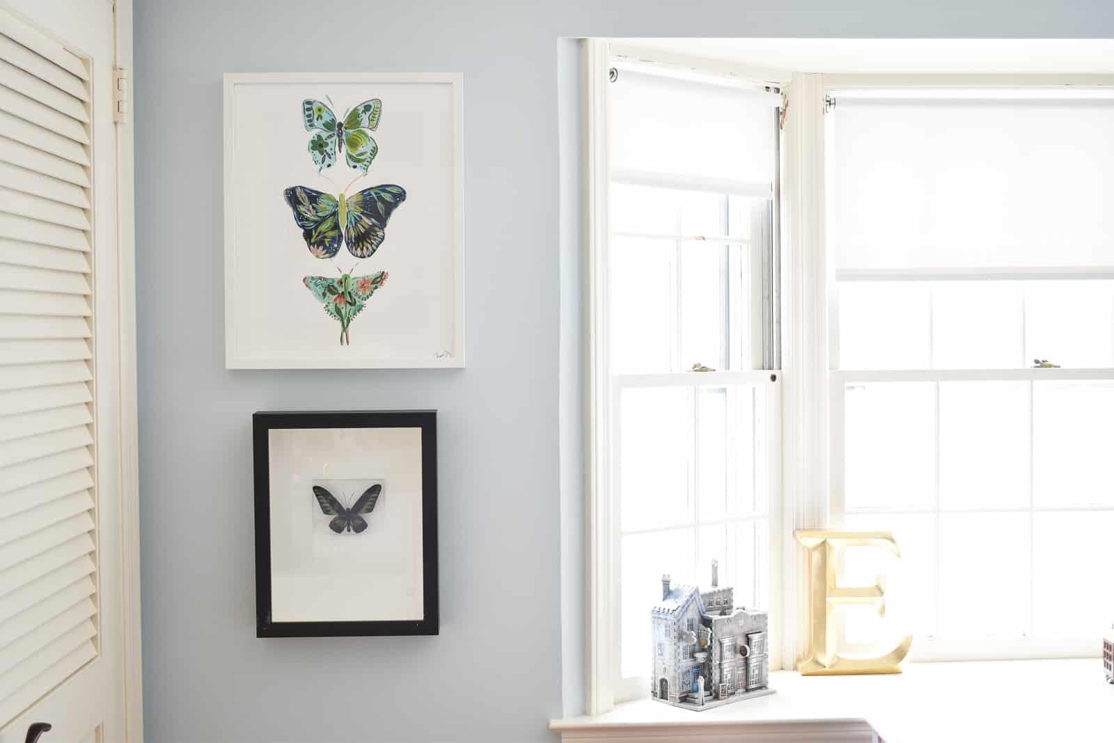 butterfly artwork in Eleanor's room