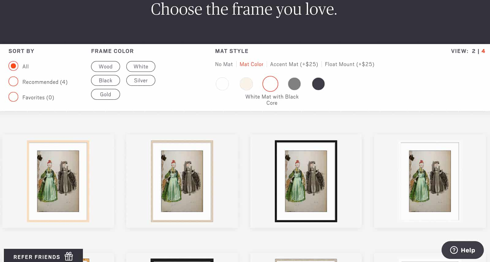 choosing the right frame with Framebridge