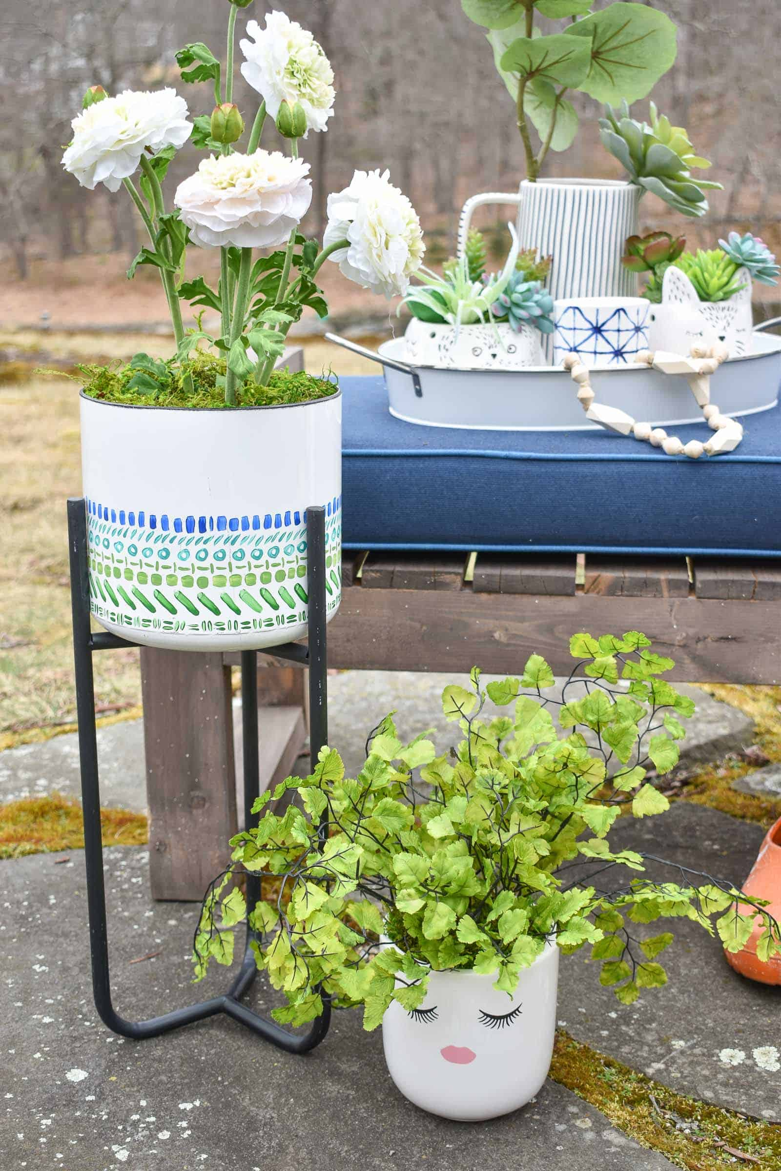 spring planters outside