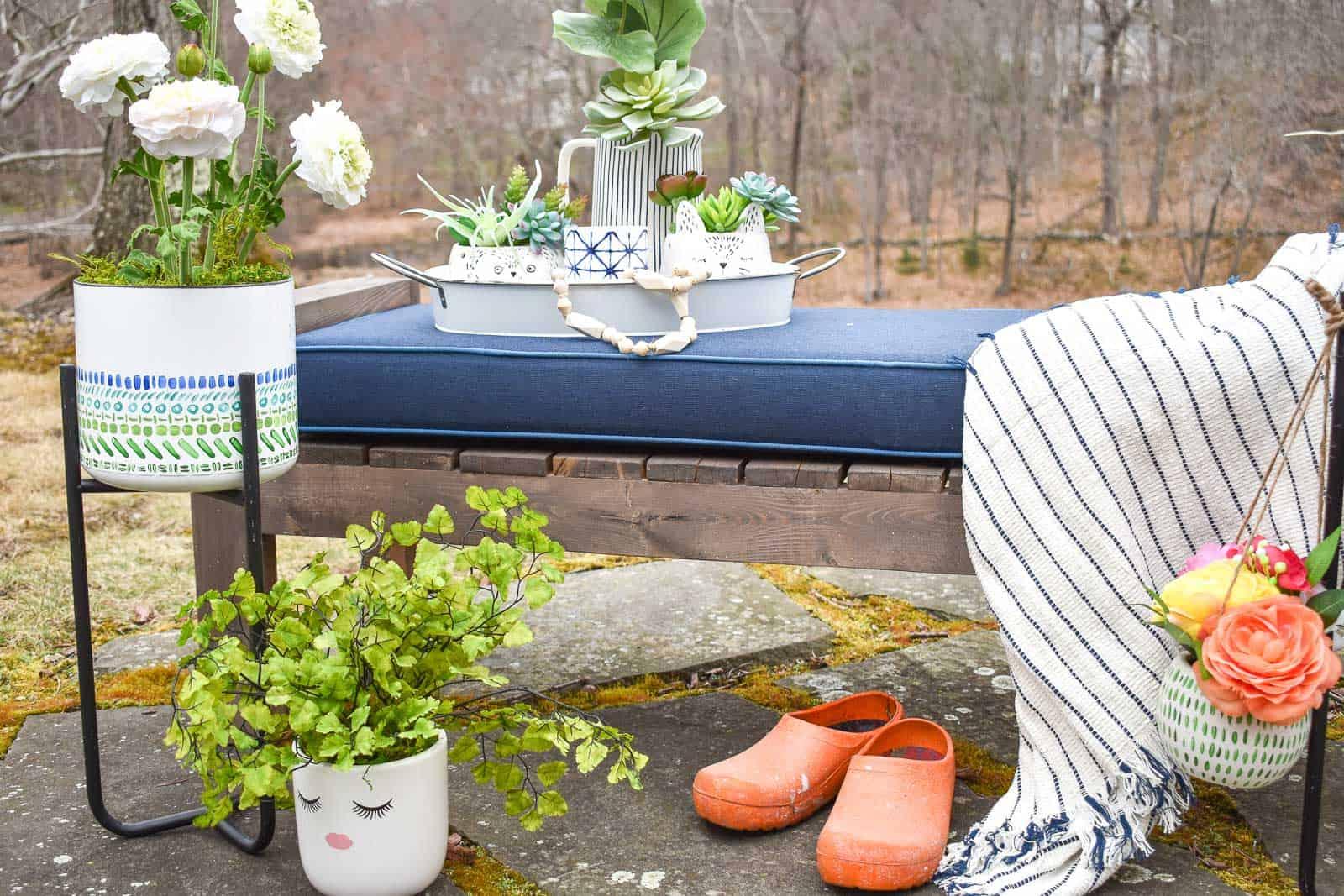 faux spring planters