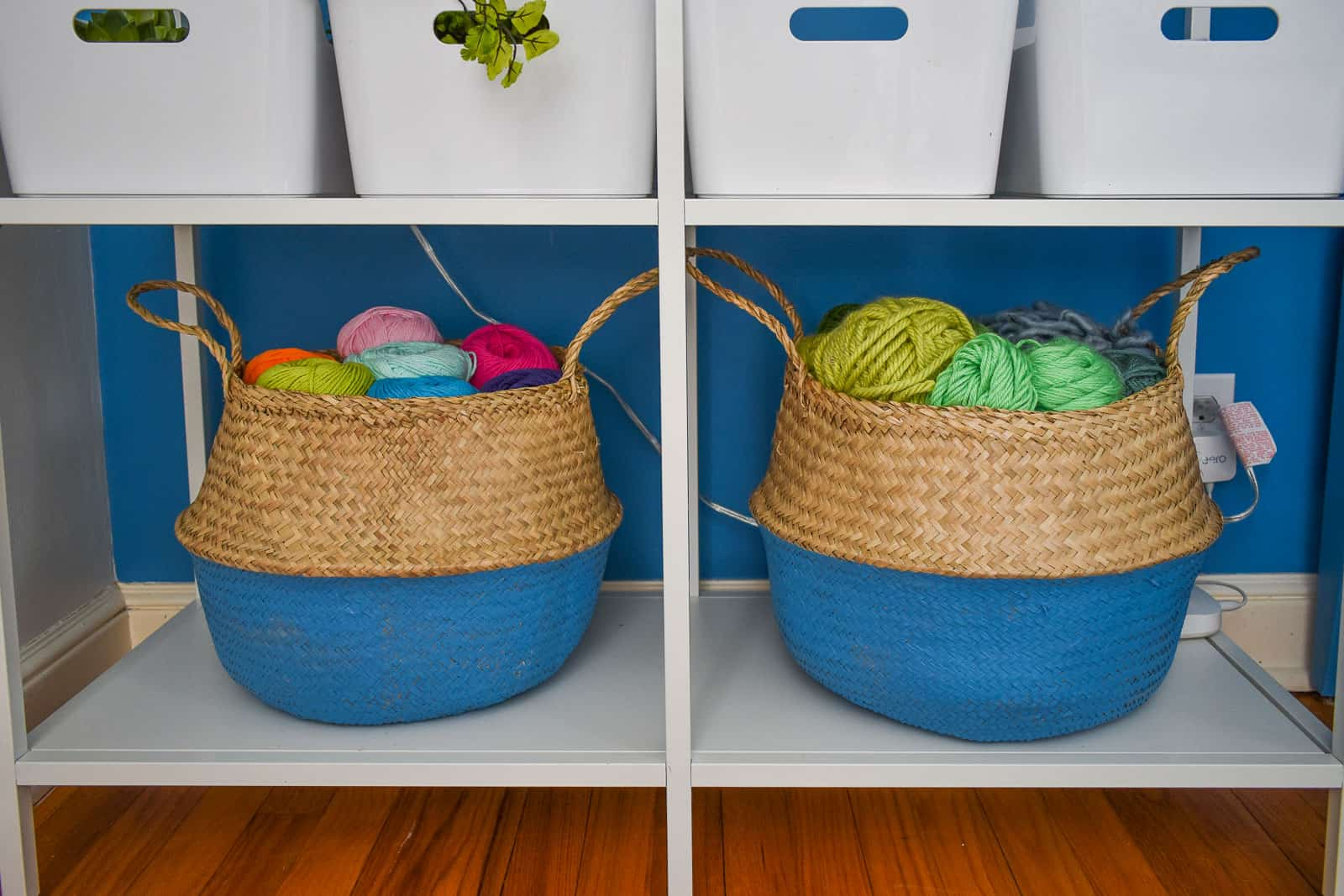 painted storage baskets in colorful office