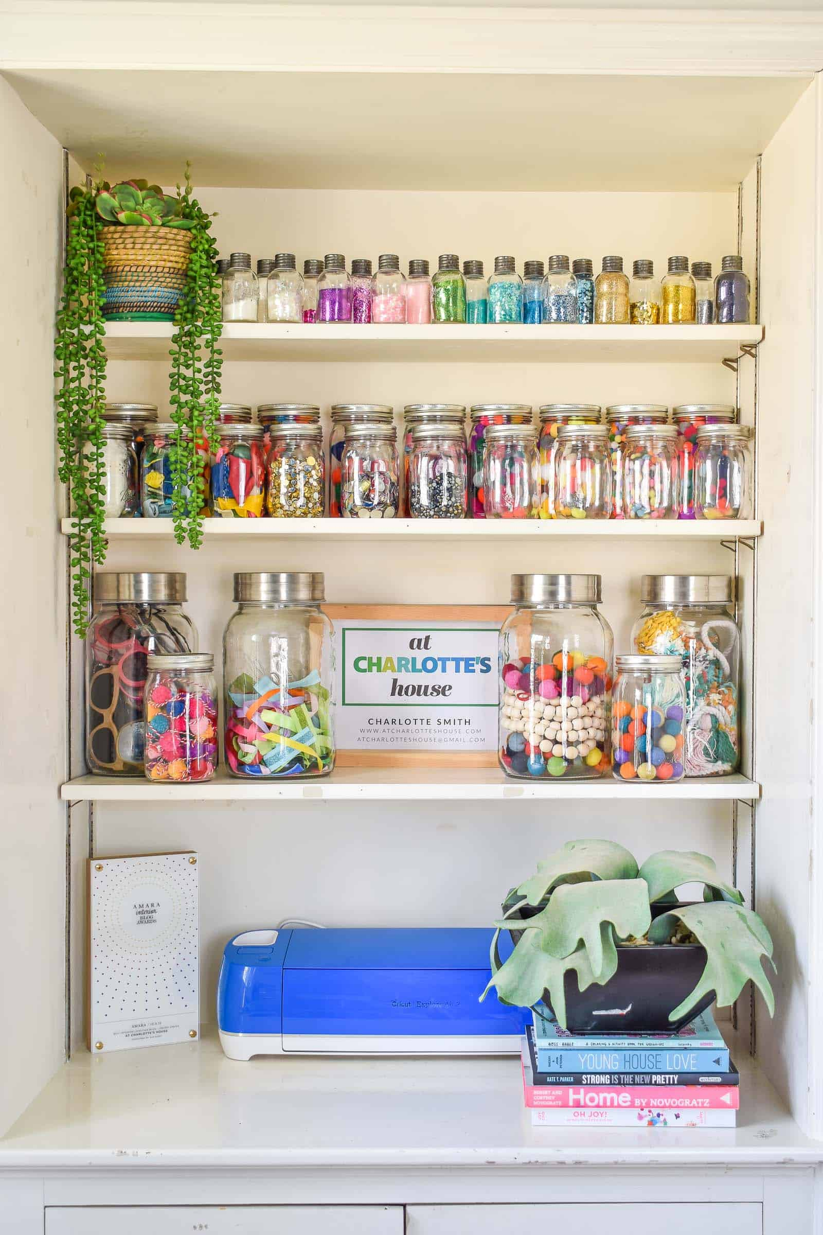 colorful home office craft organization