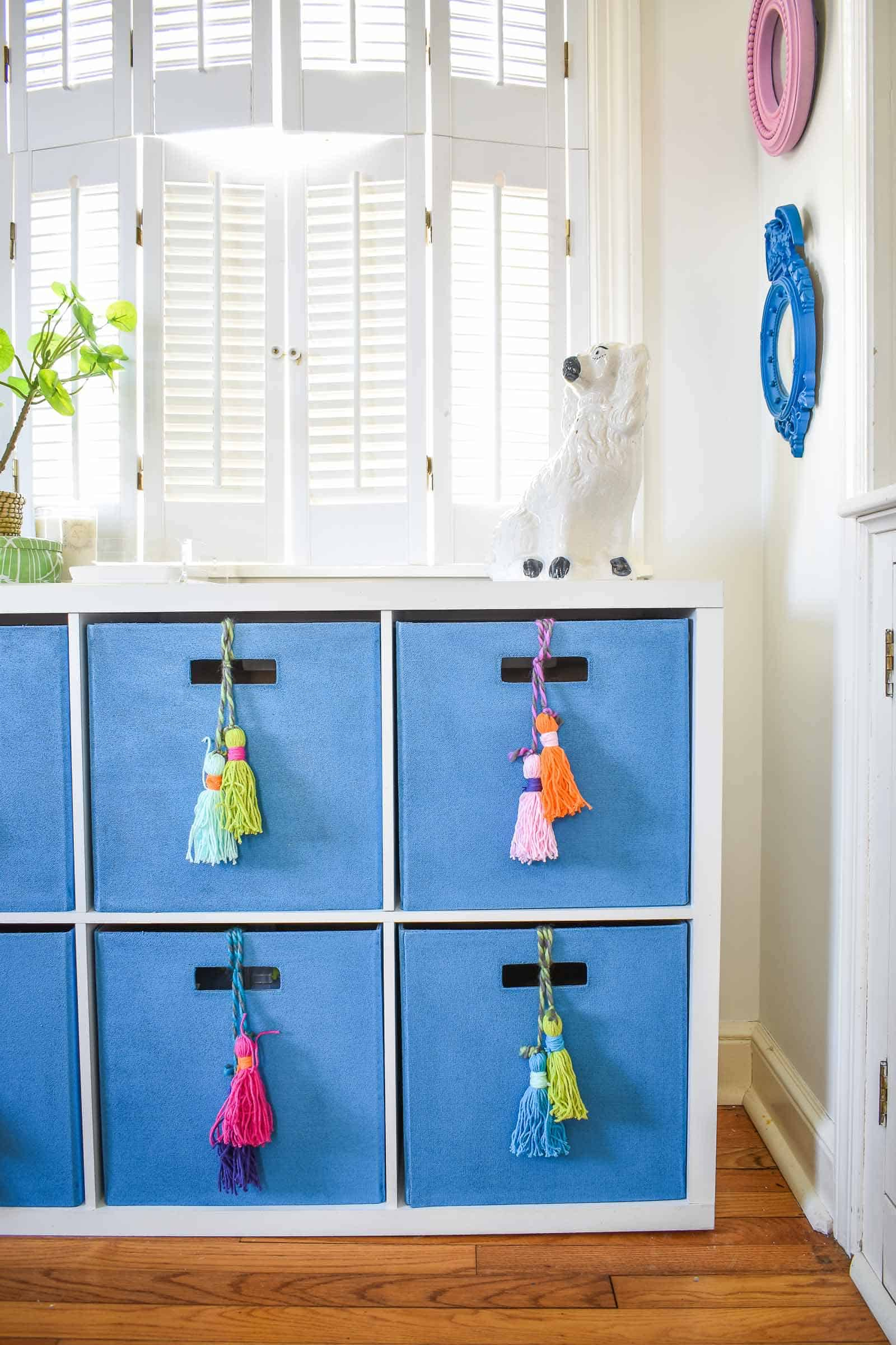 colorful tassel storage in home office