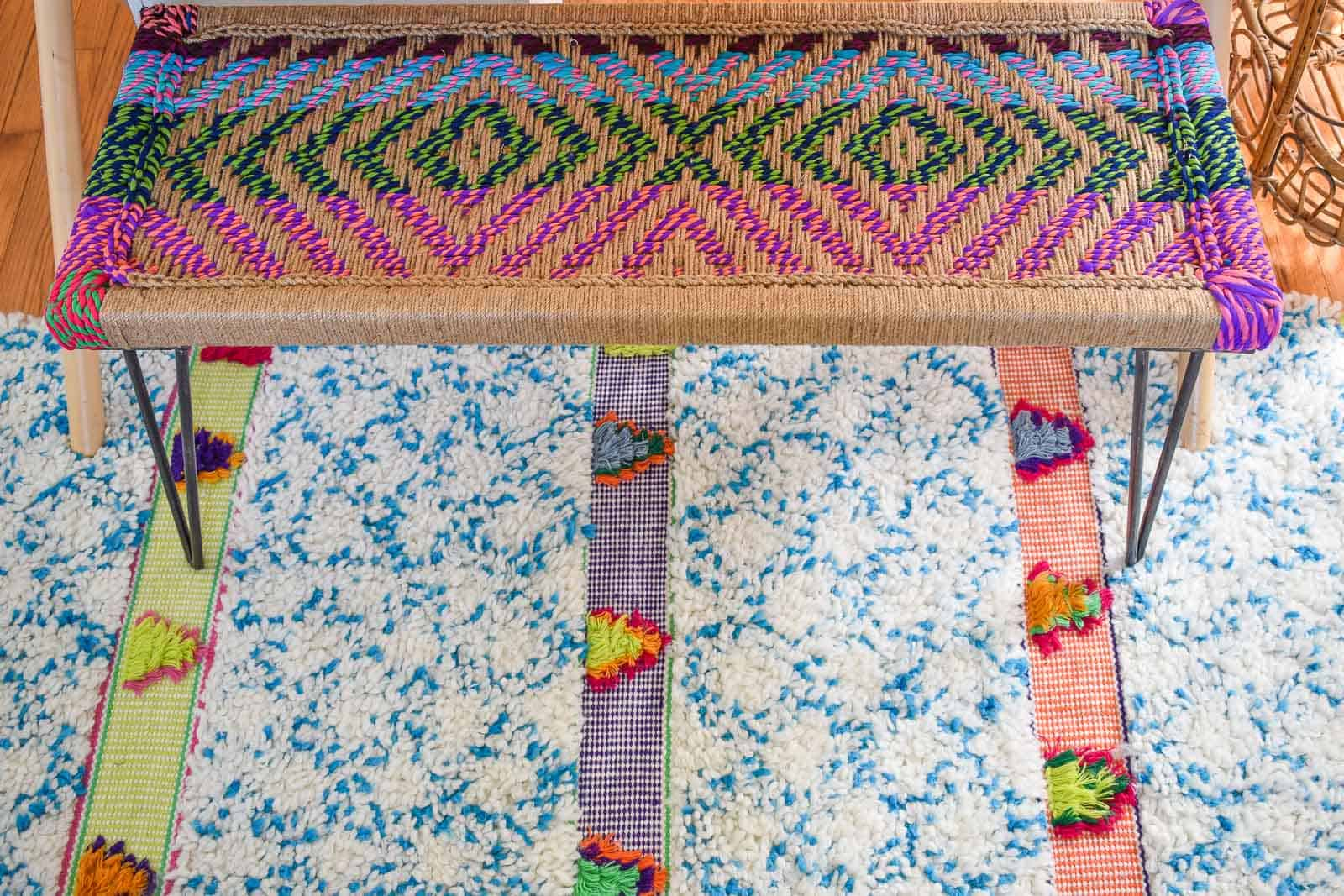 chindi bench and colorful boho rug