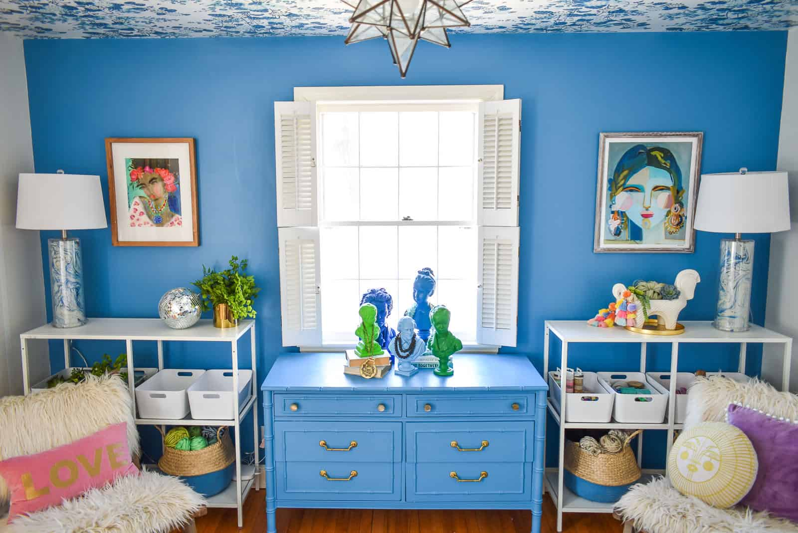 blue dresser in paintover challenge office