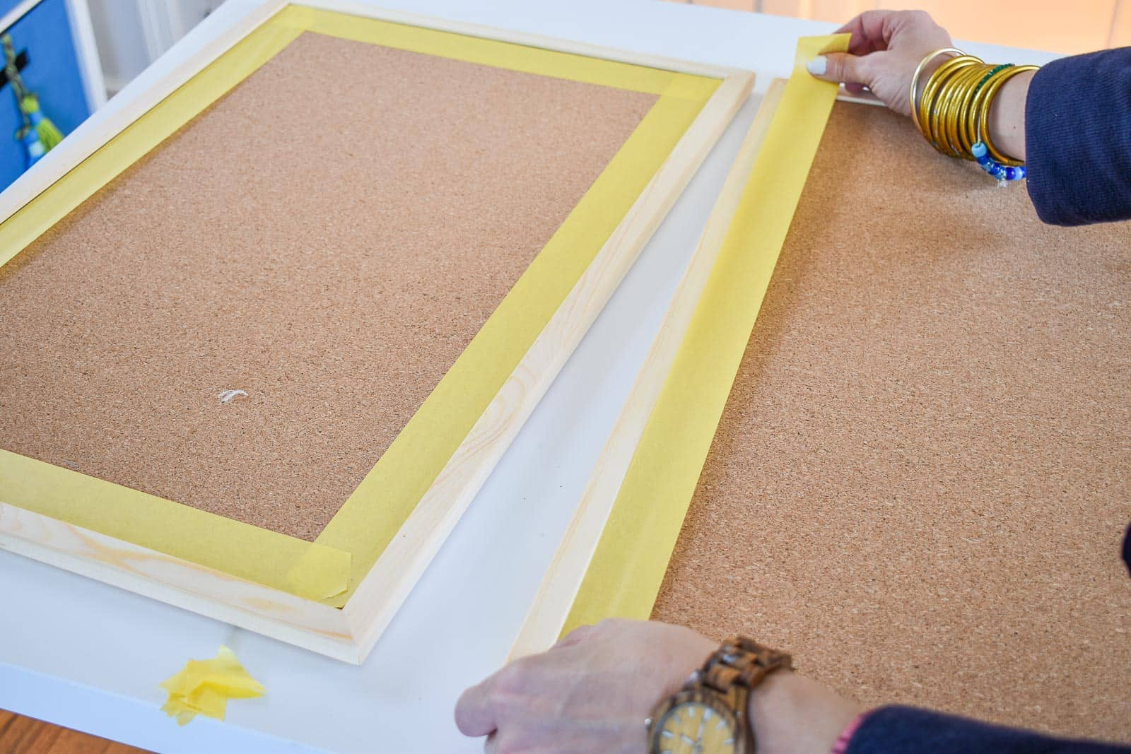 painting a cork board with frogtape