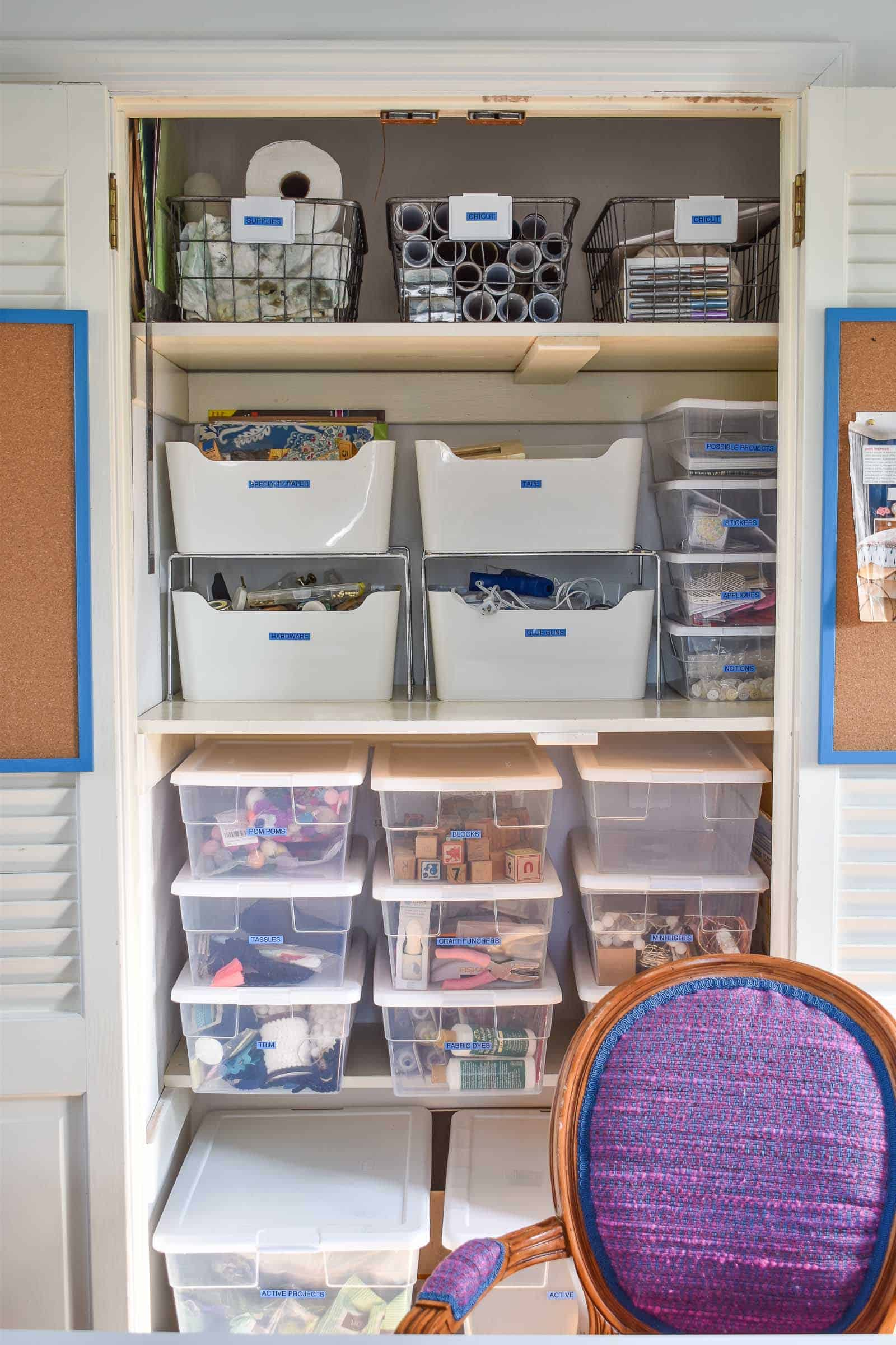 close up of craft storage behind desk
