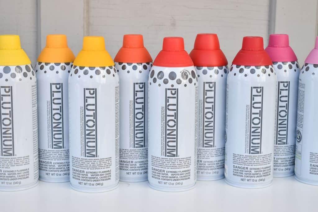 array of plutonium spray paint colors