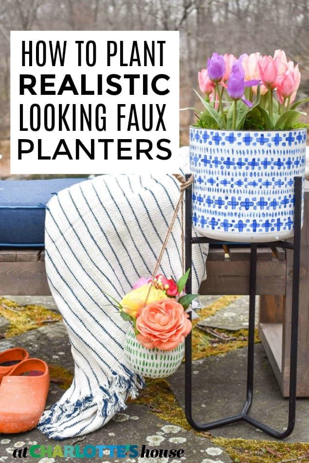 spring faux flower planters