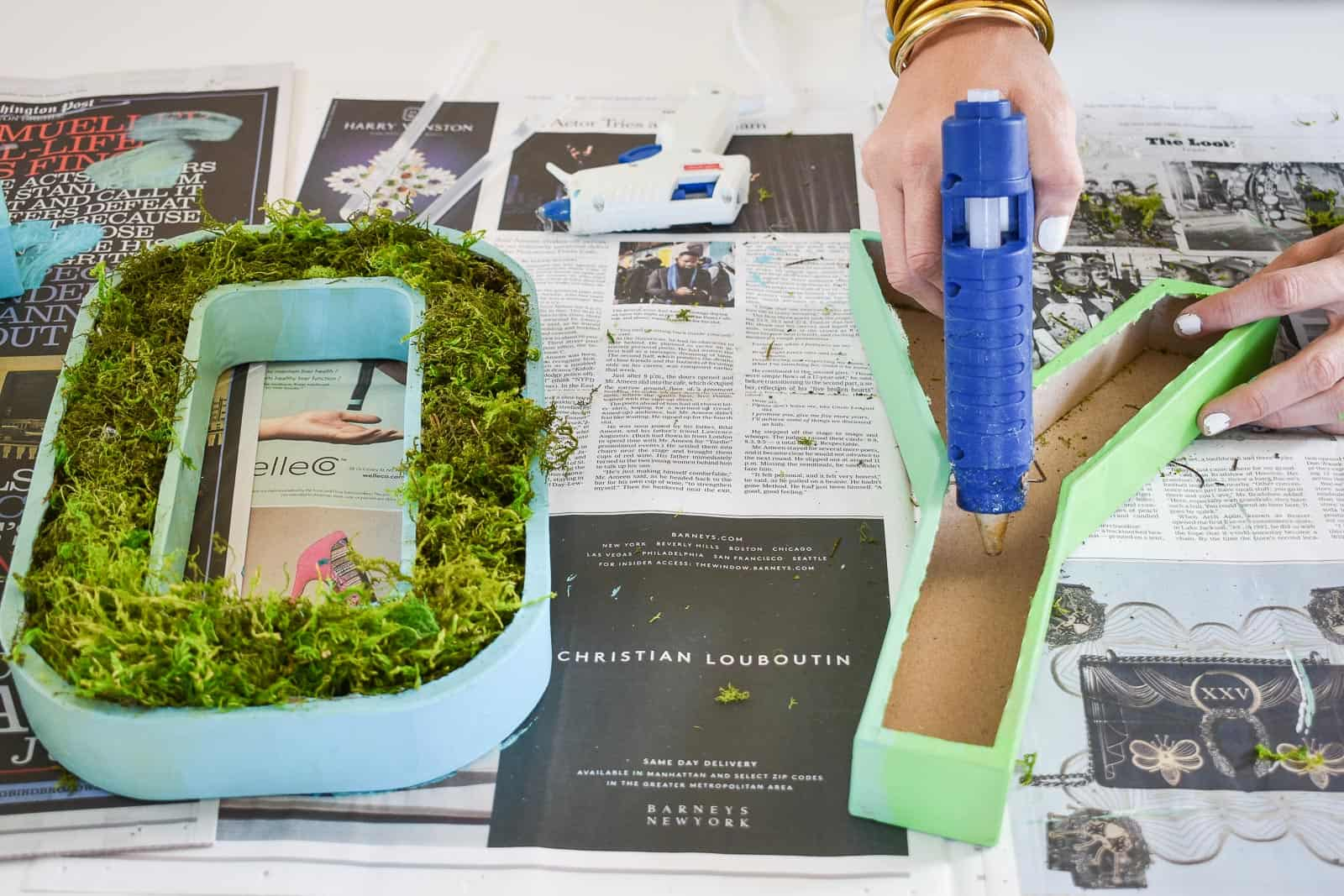 hot glue moss into letters