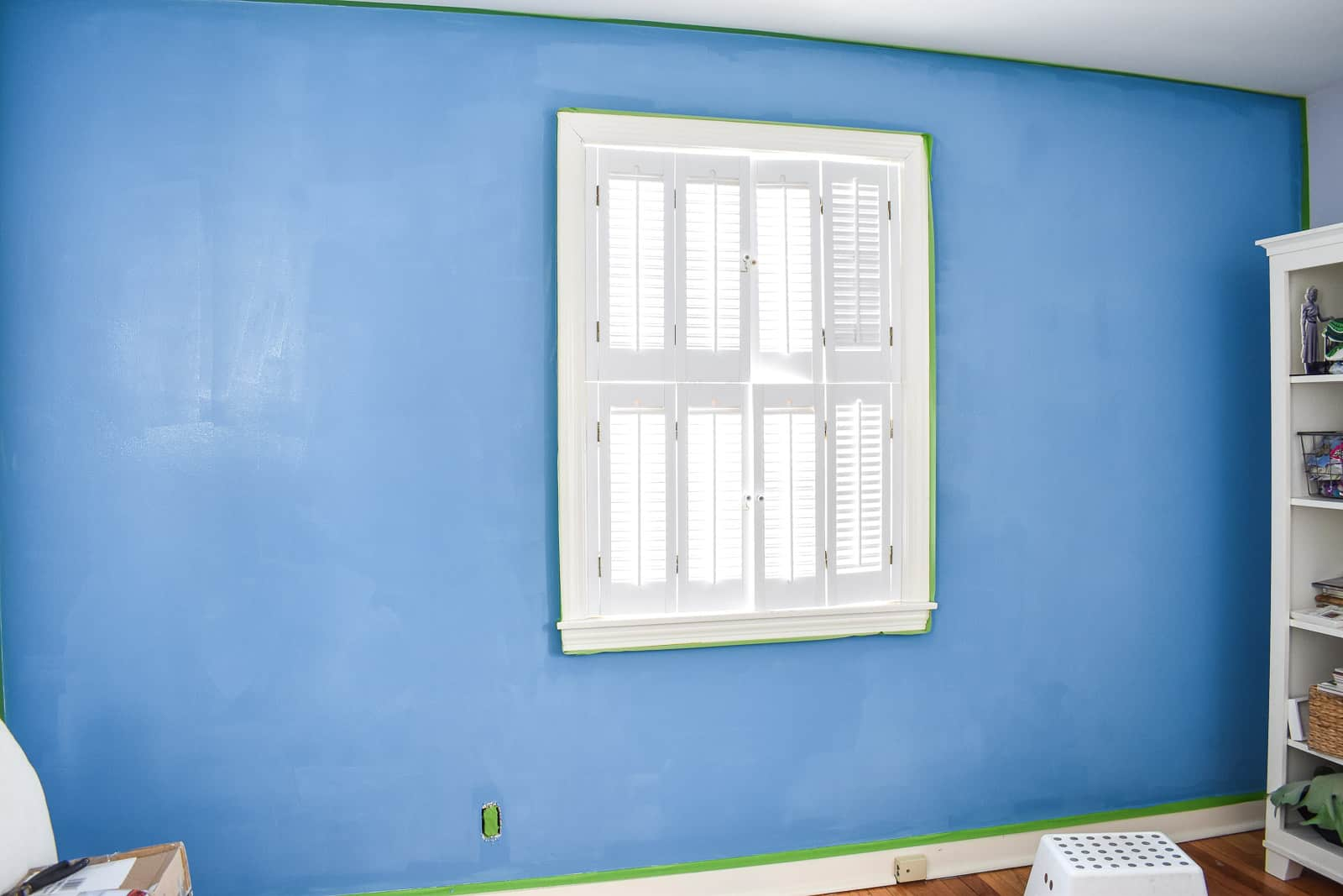 finished blue office wall