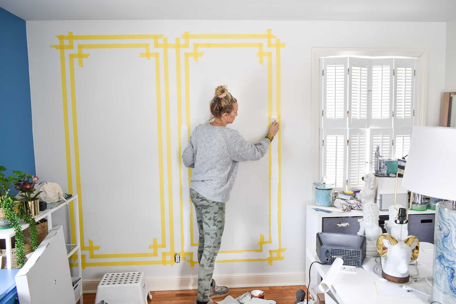 paint between the tape lines