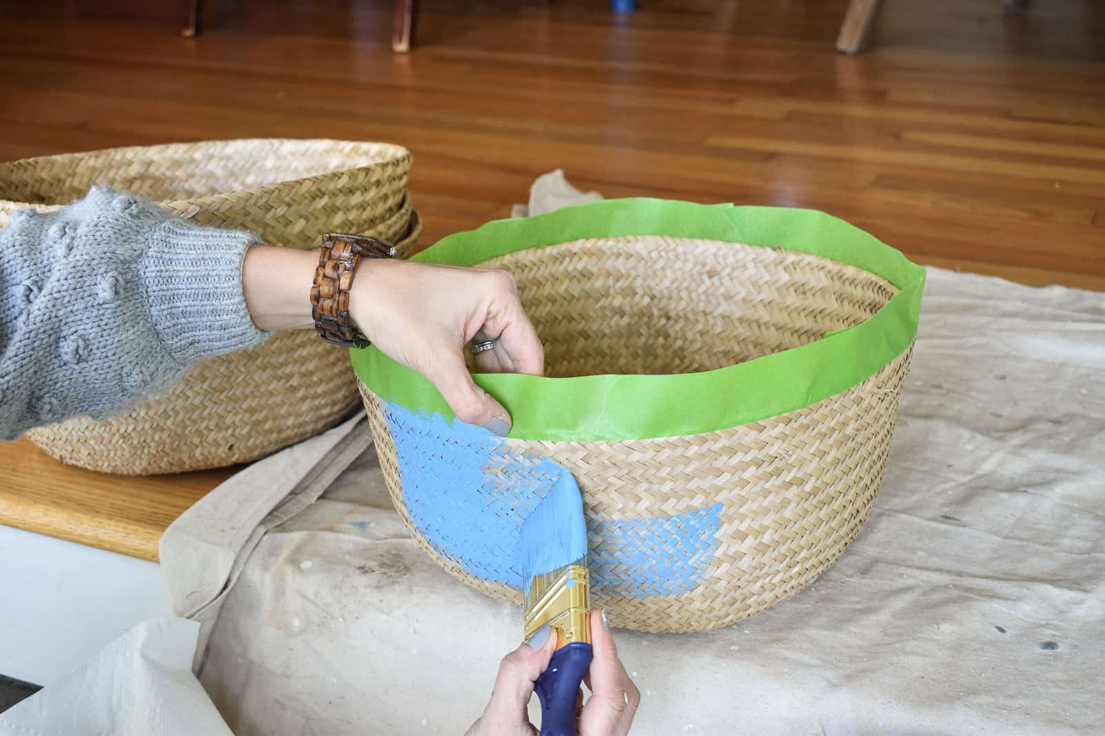 painted baskets with Frogtape