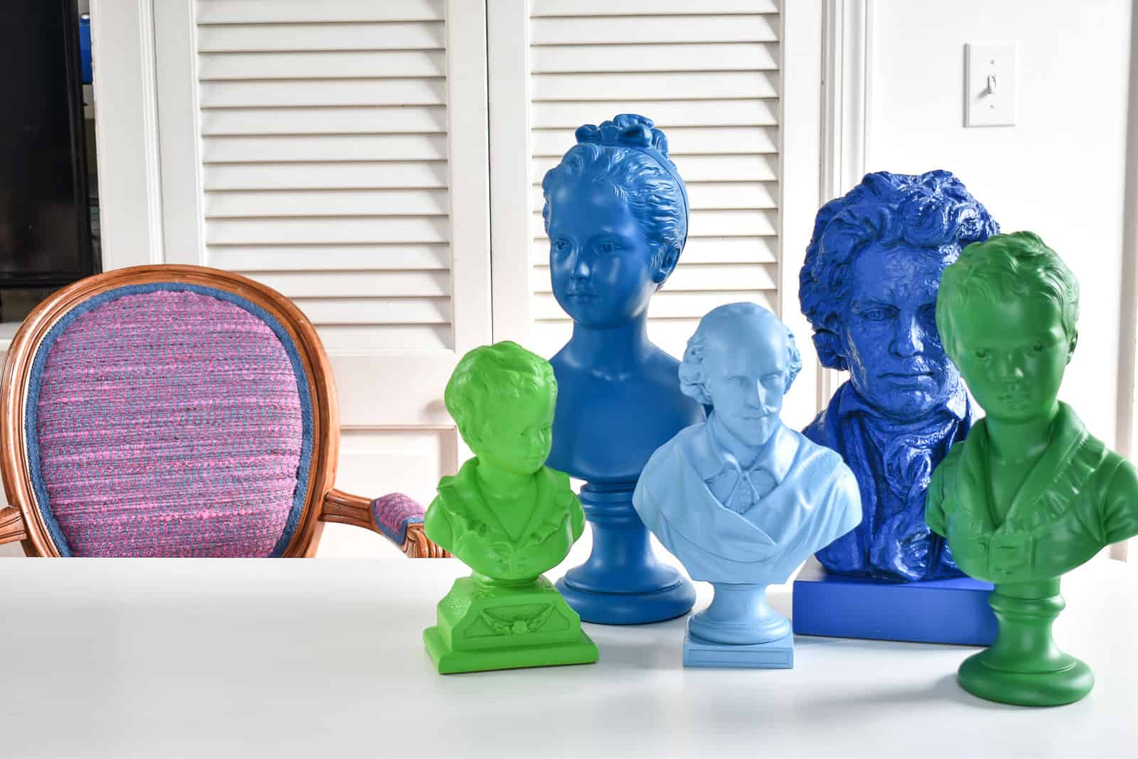colorful spray painted busts