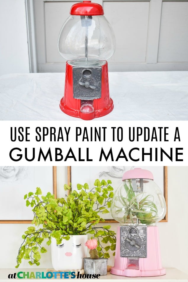 pink spray paint makeover gumball machine