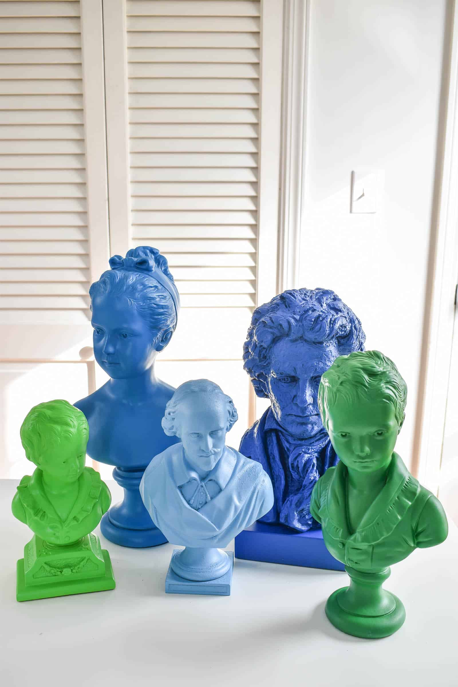 colorful busts in my new office