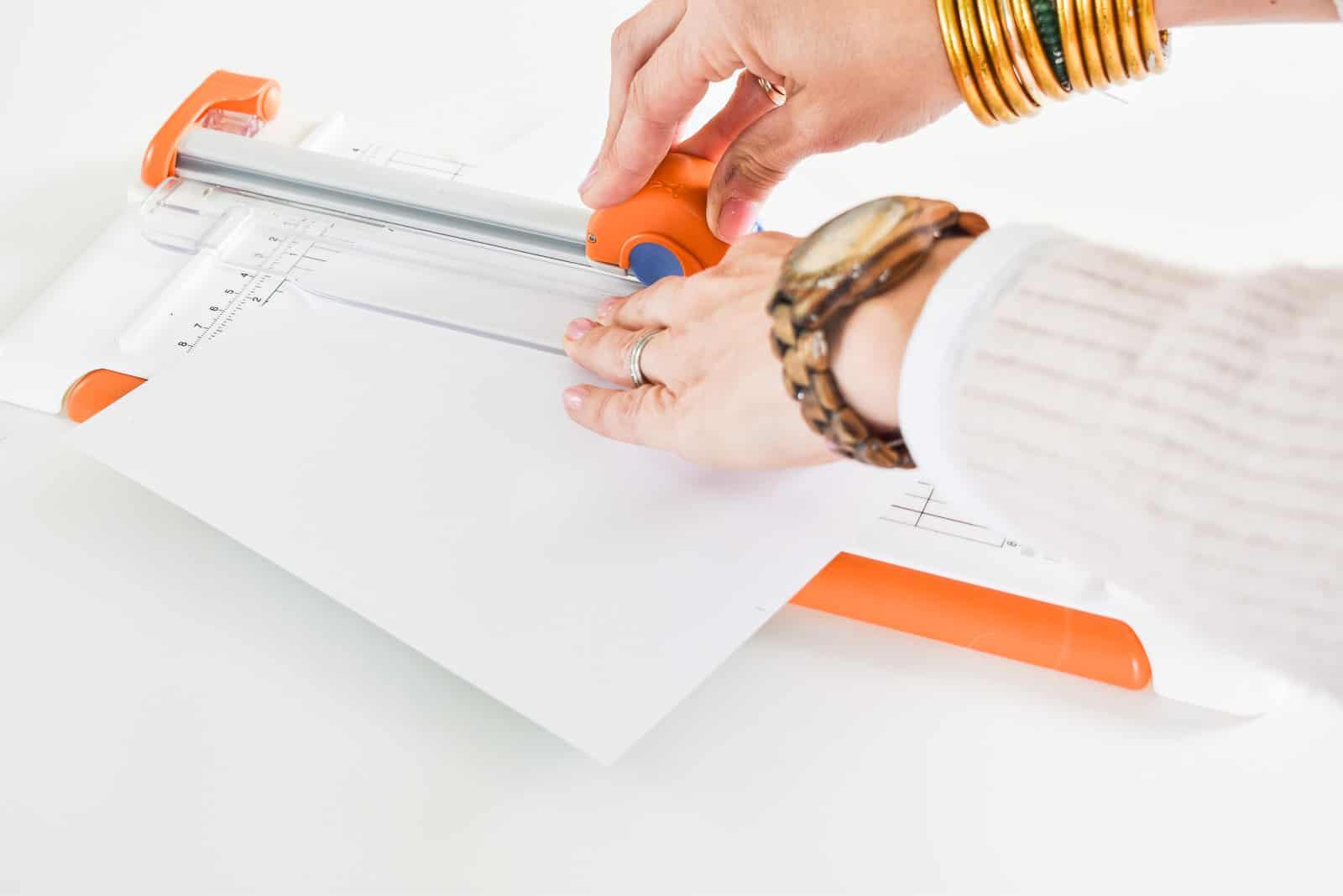 use paper cutter to cut triangles