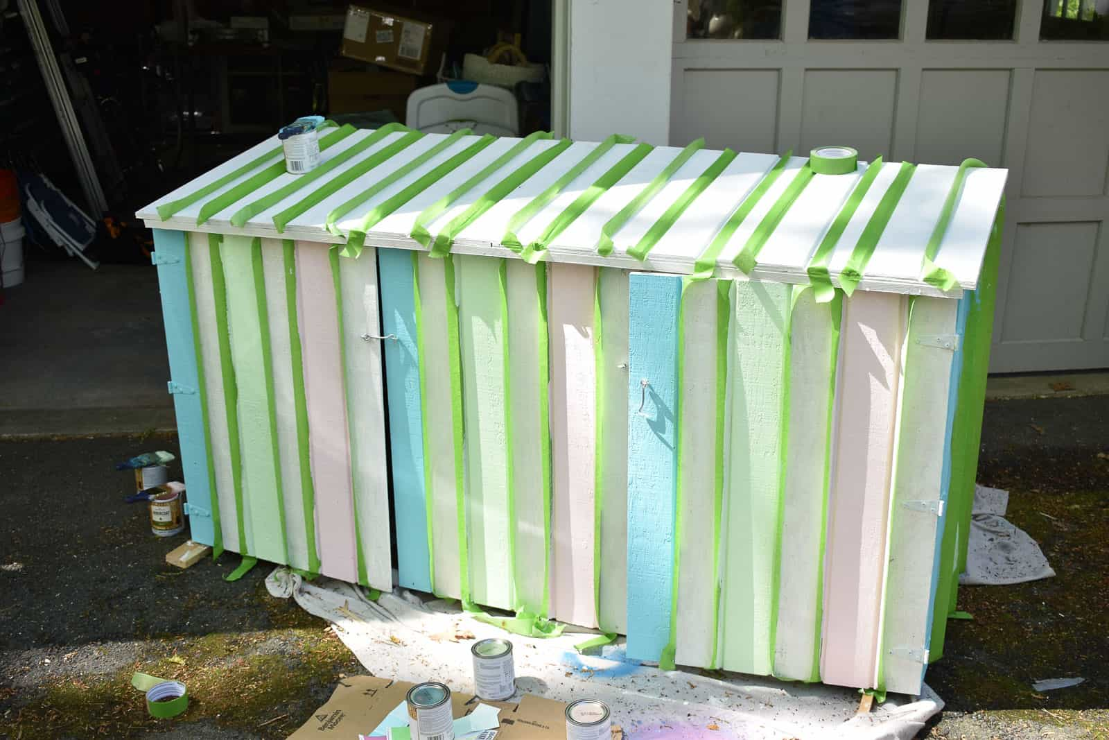 stripes on garbage shed