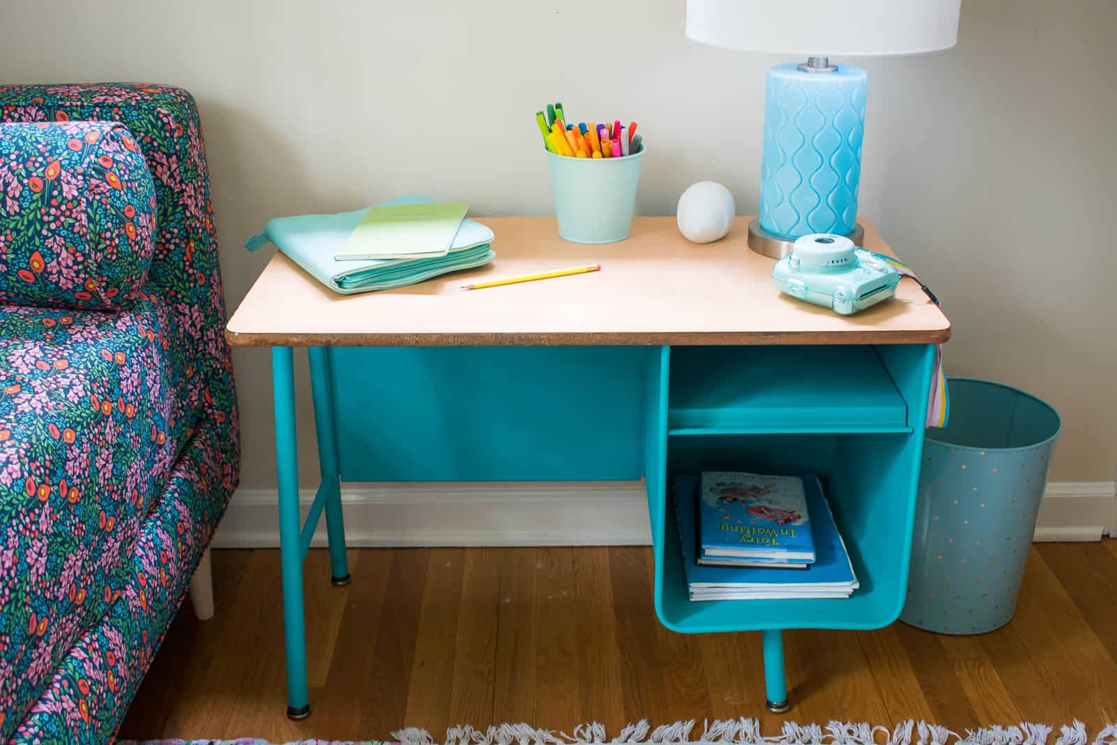 blue painted desk in girls room