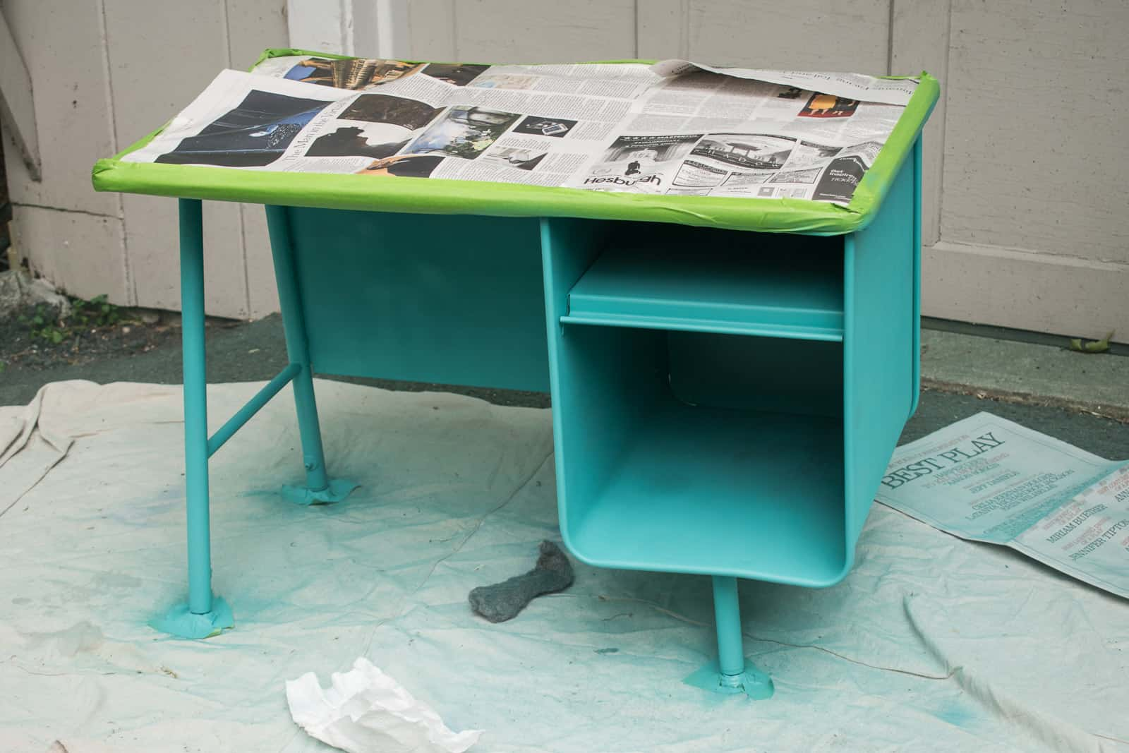 spray painting the desk