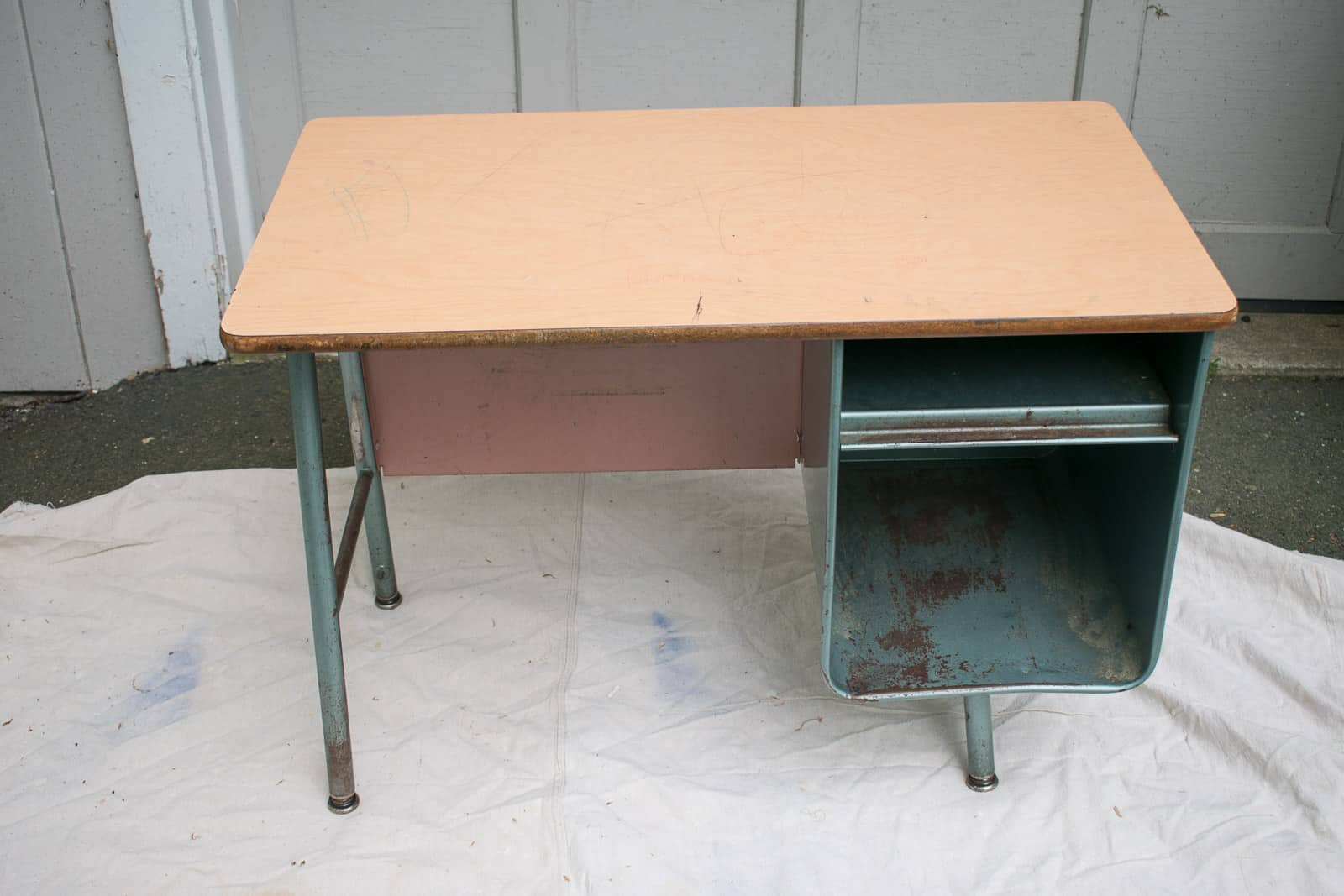 retro metal school desk