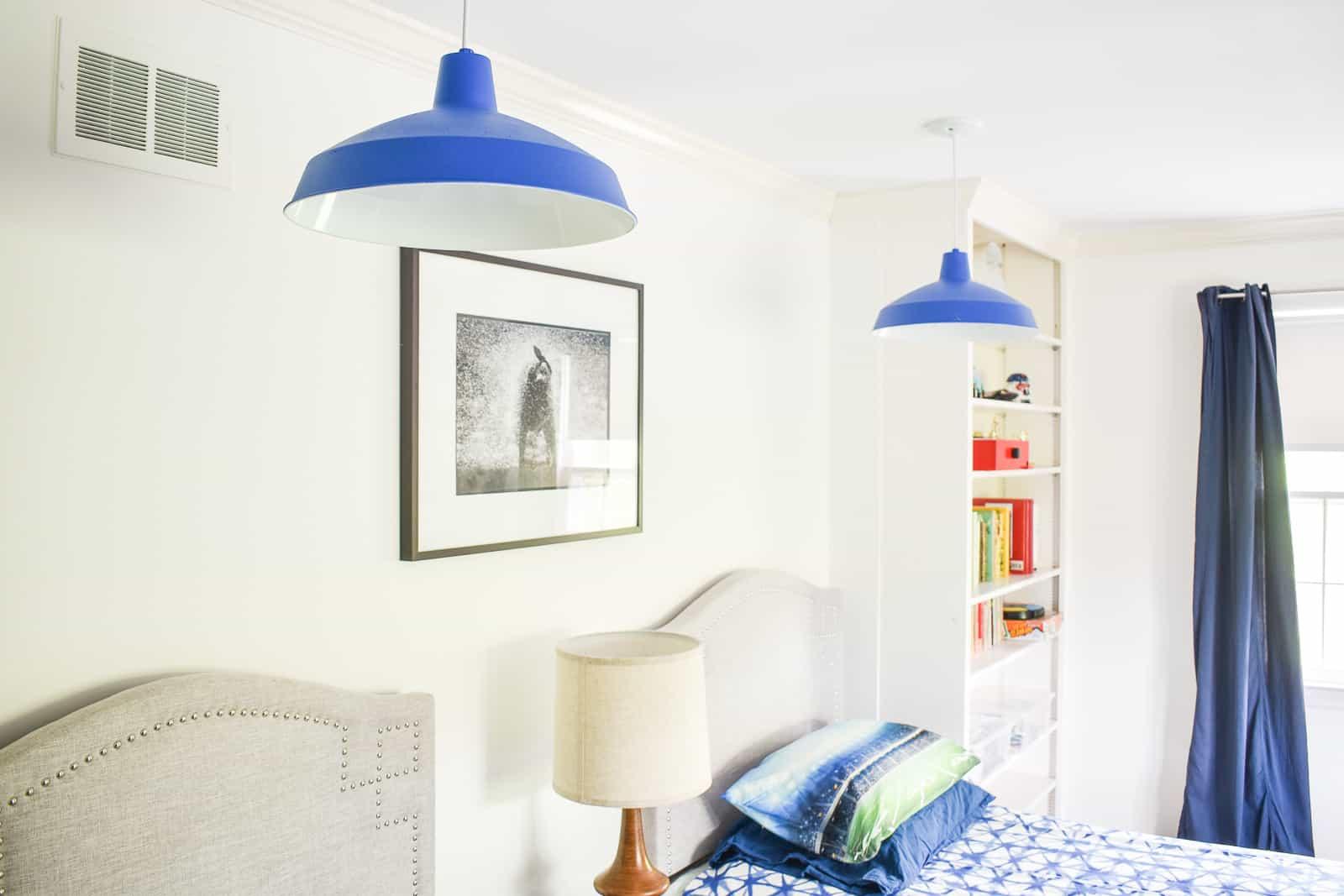 spray painted blue pendant lights