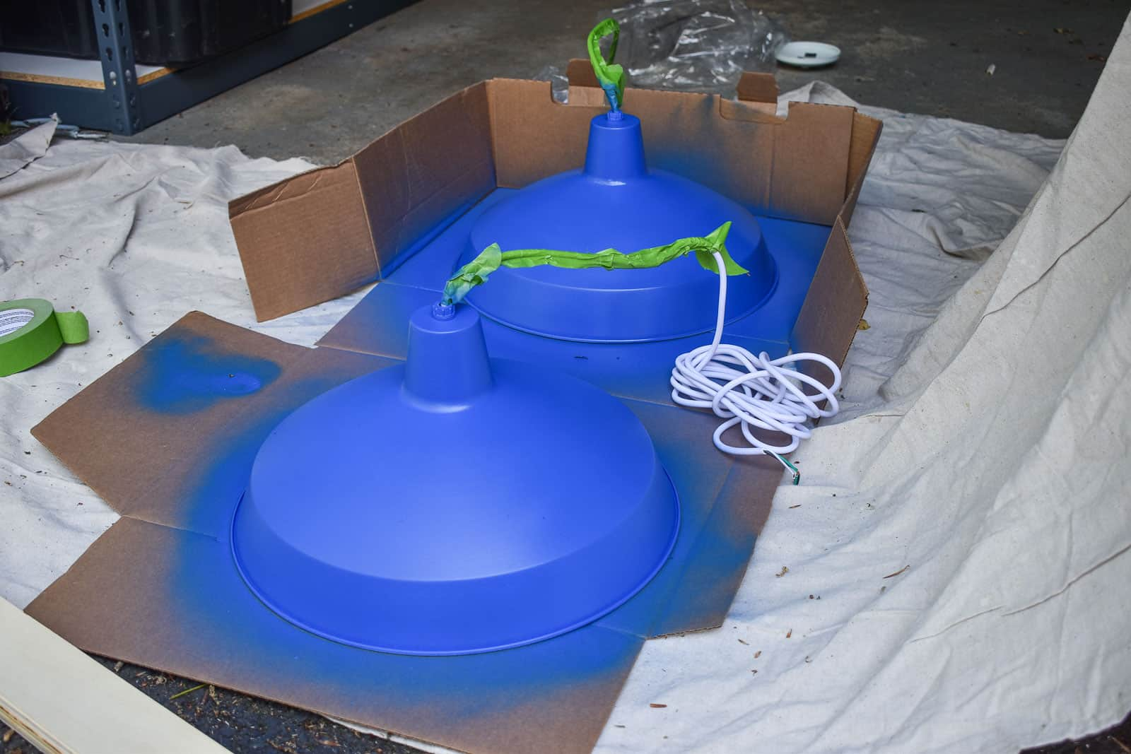 finished blue spray painted pendant lights