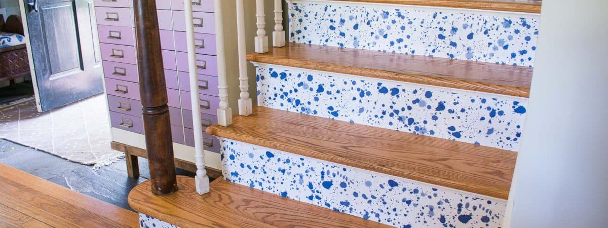 Make Decorative Stair Risers Using Wallpaper