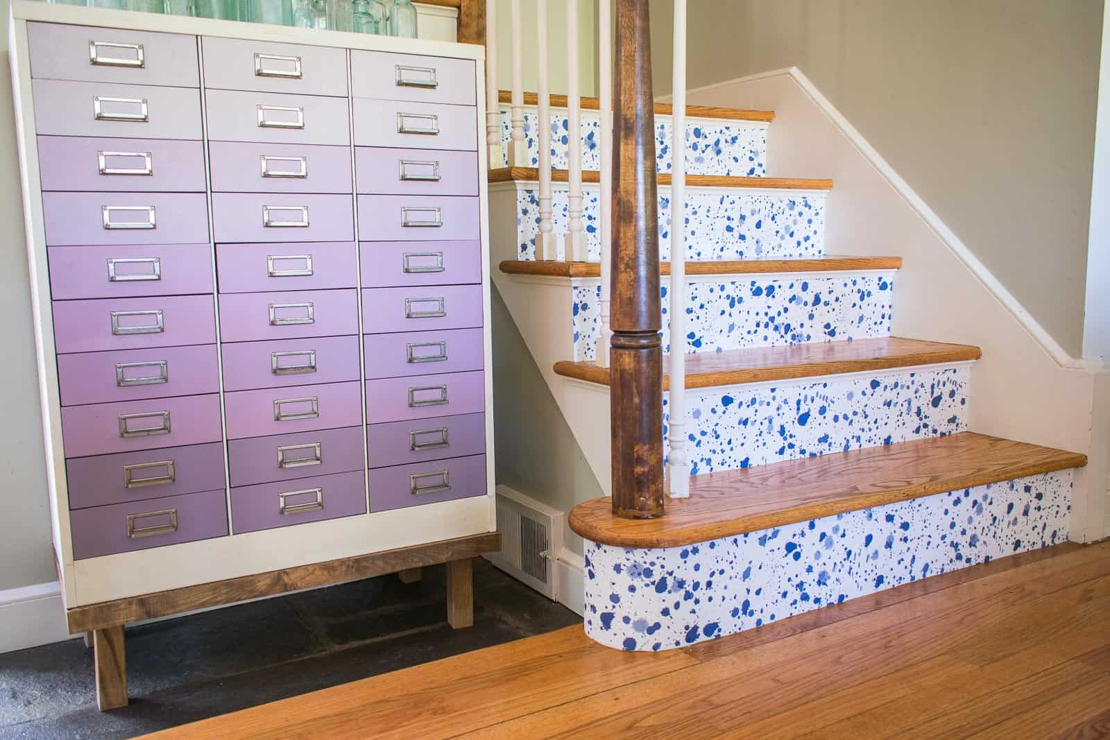 wallpapering stair risers