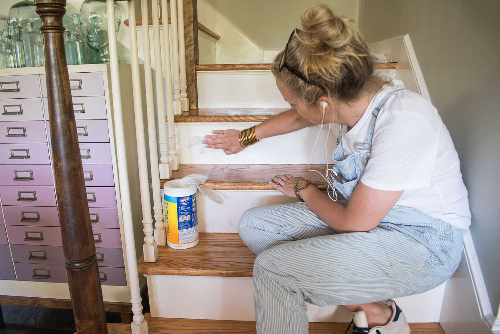 cleaning each stair riser