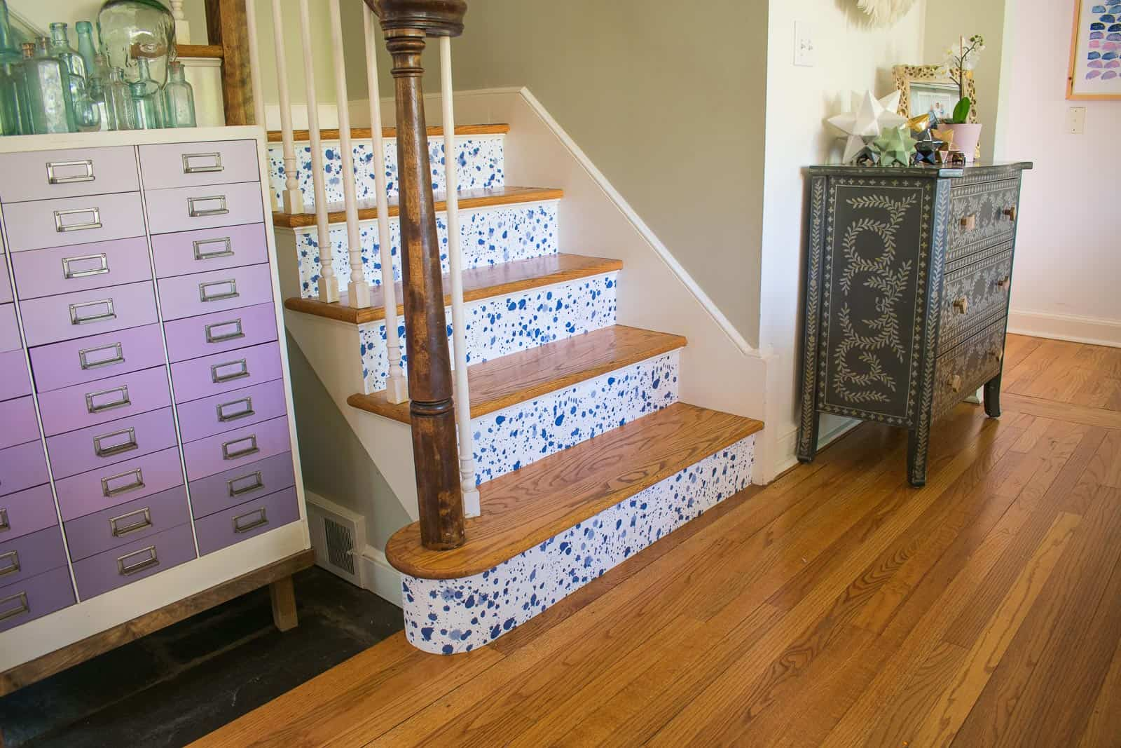 decorative staircase risers with wallpaper