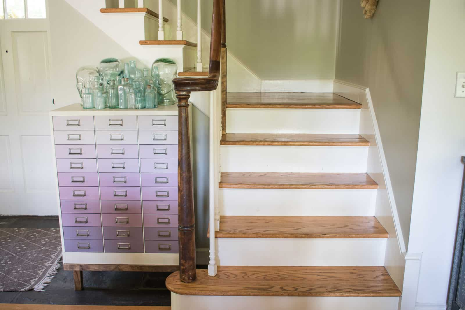 stair risers before wallpaper